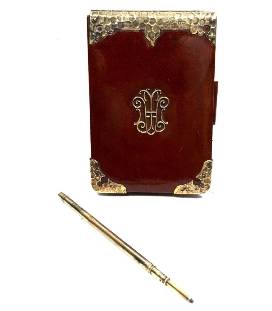 Victorian Brown Leather & Silver Gilt Hallmarked London 1884 Wallet & Notepad
